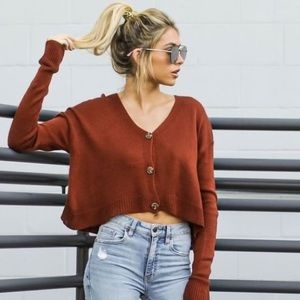 🆕 Cropped Cardigan Sweater brick red